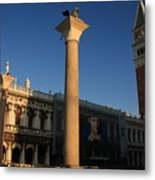 Pillars And Bell Tower At San Marco In Venice Metal Print
