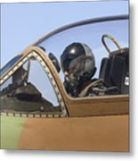 Pilot In The Cockpit Of A Skyhawk Fighter Jet  Metal Print