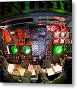 Pilots At The Controls Of A B-52 Metal Print by Stocktrek Images