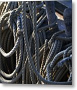Pin Rail And Rope Metal Print