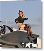 Pin-up Girl Sitting On The Wing Metal Print by Christian Kieffer