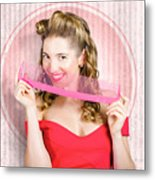 Pin Up Hairdresser Woman With Hair Salon Brush Metal Print