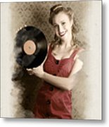 Pin-up Rockabilly Woman Holding Vinyl Record Lp Metal Print