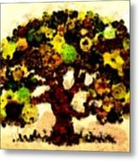 Pinatamiche Tree Painting In Crackle Paint Metal Print