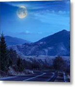 Pine Trees Near Valley In Mountains And Autumn Forest On Hillsid Metal Print