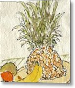 Pineapple And Banana Metal Print