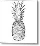 Pineapple Black And White Metal Print