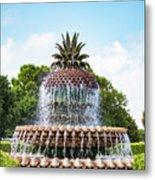 Pineapple Fountain In Charleston South Carolina Metal Print