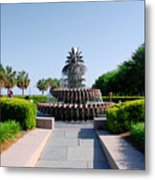 Pineapple Fountain In Charleston Metal Print