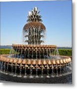 Pineapple Fountain In The Park Metal Print