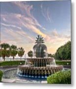 Pineapple Fountain Sunset - Charleston Sc Metal Print by Drew Castelhano