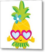 Pineapple Hula Metal Print