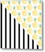 Pineapples And Stripes Metal Print