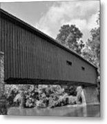 Pinetown Bushong's Covered Bridge Black And White Metal Print