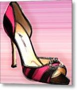 Pink And Black Stripe Shoe Metal Print