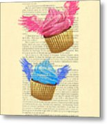 Pink And Blue Cupcakes Vintage Dictionary Art Metal Print