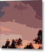 Pink And Mauve Sky Abstract Metal Print