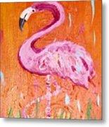 Pink And Orange Flamingo  Metal Print