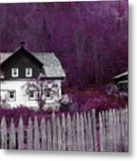 Pink And Purple Enchanted Cottage Metal Print