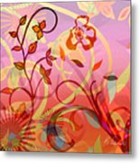 Pink And Purple Flower Medley Metal Print