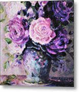 Pink And Purple Roses Metal Print