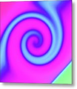 Pink And Turquoise Swirl Abstract Metal Print