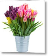 Pink And Violet  Tulips Metal Print