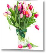 Pink And Violet Tulips Bouquet  Metal Print