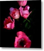 Pink And White Flowers On Black Metal Print