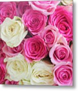Pink And White Roses Bunch Metal Print
