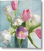 Pink And White Tulips Metal Print