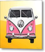 Pink And White Volkswagen T 1 Samba Bus On Yellow Metal Print by Serge Averbukh