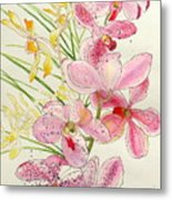 Pink And Yellow Orchids Metal Print