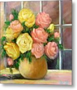 Pink And Yellow Roses Metal Print