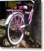 Pink Bicycle Metal Print