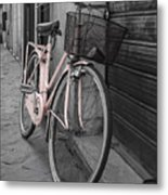 Pink Bicycle In Rome Metal Print