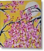 Pink Blossoms / Yellow Skies Metal Print