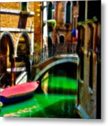 Pink Boat And Canal Metal Print