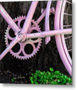 Pink Bycycle Resting On A Tree Metal Print