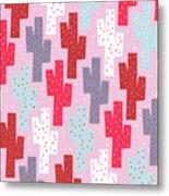 Pink Cactus Pattern Metal Print