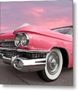 Pink Cadillac Sunset Metal Print