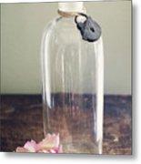 Pink Carnation Blossom And Vintage Glass Bottle Metal Print