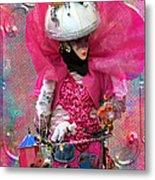 Pink Carnival Costumed Lady Metal Print