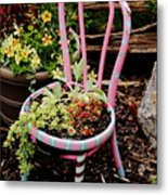 Pink Chair Planter Metal Print