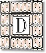 Pink Champagne Deco Monogram  D Metal Print