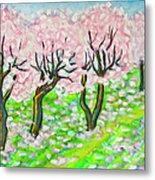 Pink Cherry Garden In Blossom Metal Print