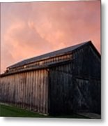 Pink Clouds Over Barn Metal Print