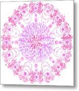 Pink Crab Mandala Metal Print