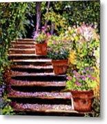 Pink Daisies Wooden Steps Metal Print by David Lloyd Glover