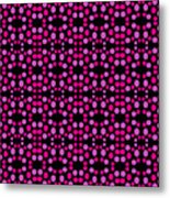 Pink Dots Pattern On Black Metal Print